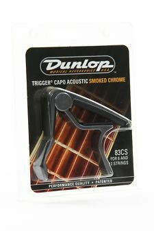 Каподастр Dunlop 83CS  TRIGGER CURVED ACOUSTIC FOR 6 AND 12 STRINGS SMOKED CHROME
