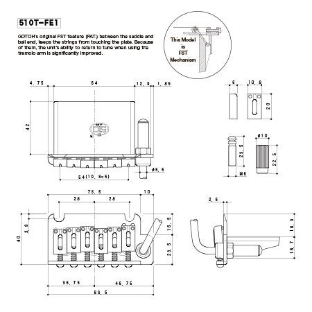 Тремоло Gotoh 510T-FE1 B