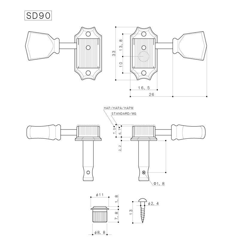 Колки Gotoh SD90 SL G