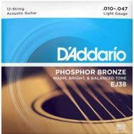 Струны D'addario для 12-ти струнной акустической гитары EJ38 10-47.